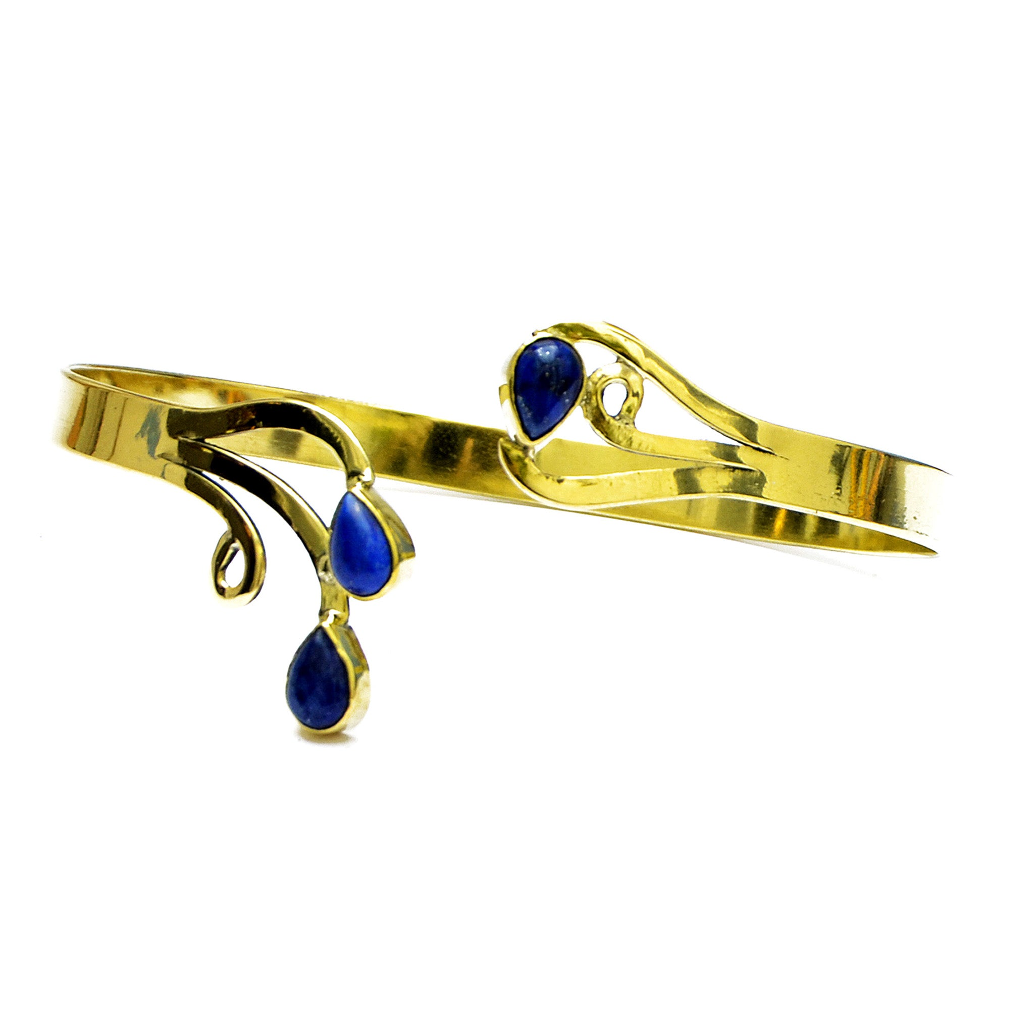 Indian ethnic gold bracelet with lapis lazuli gemstones