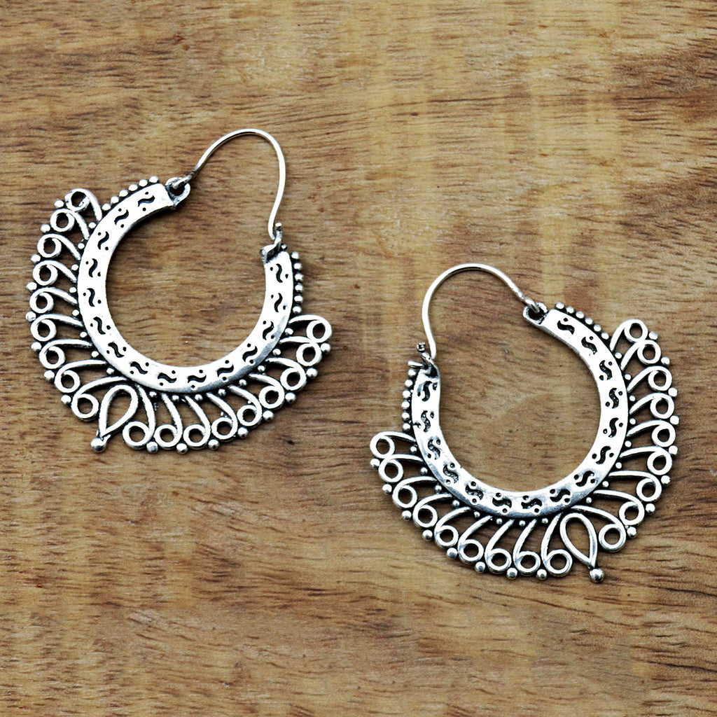 Indian silver filigree hoop earringss