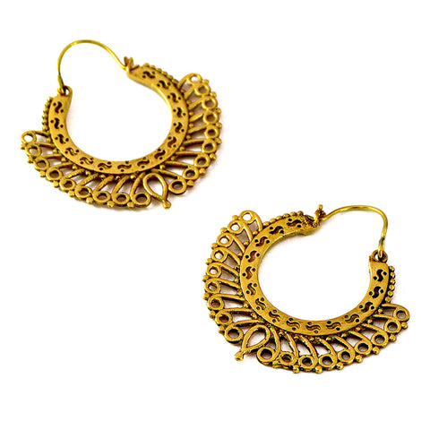 Antique indian hoop filigree earrings