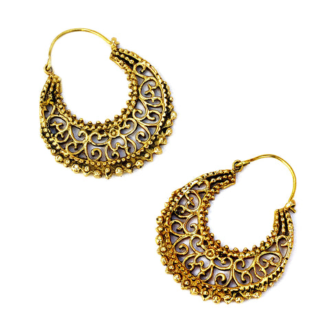 Brass indian hoop earrings with ethnic filigree work