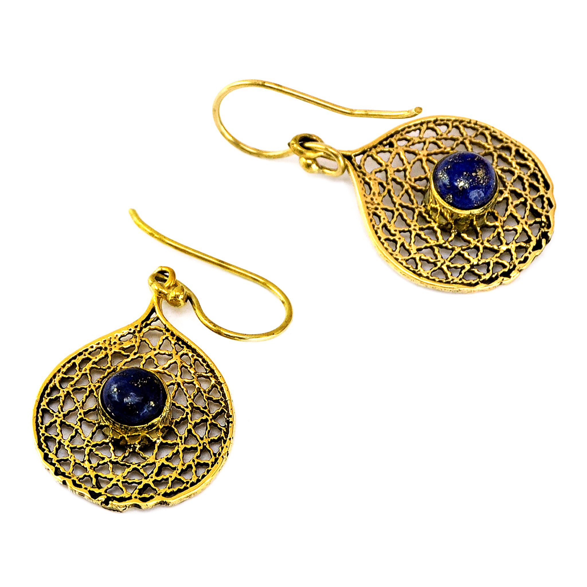 Indian filigree earrings with lapis lazuli stone