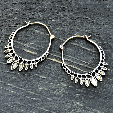 Silver indian gypsy hoop earrings