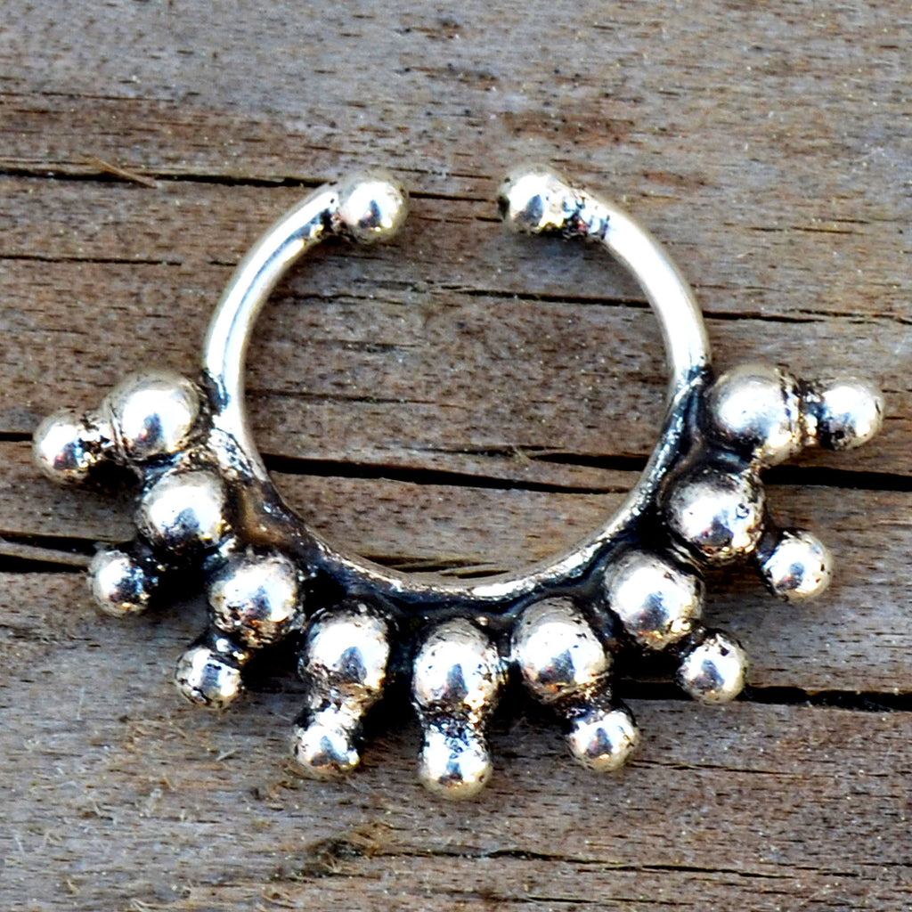 Silver indian faux septum ring