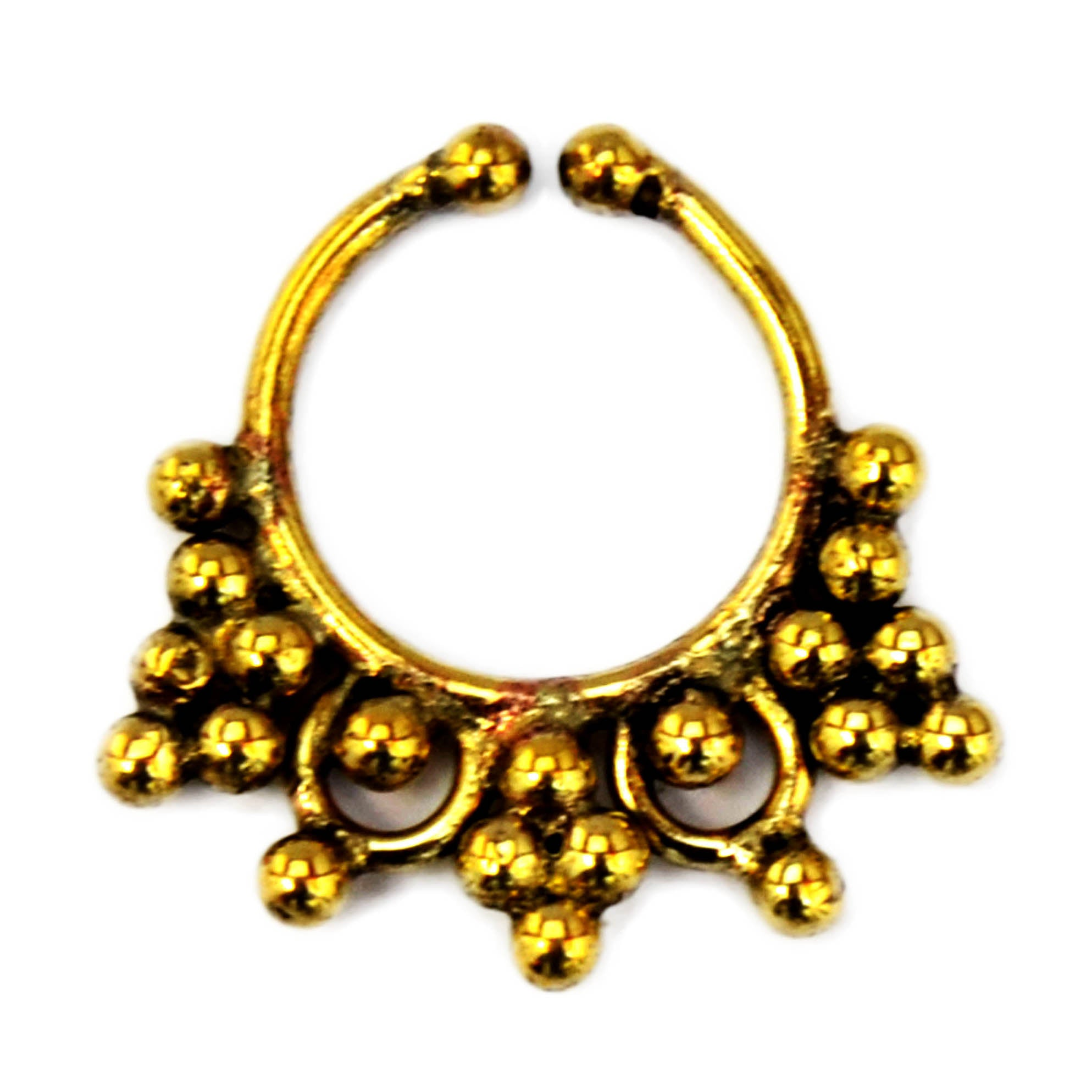 Gold indian tribal faux septum ring