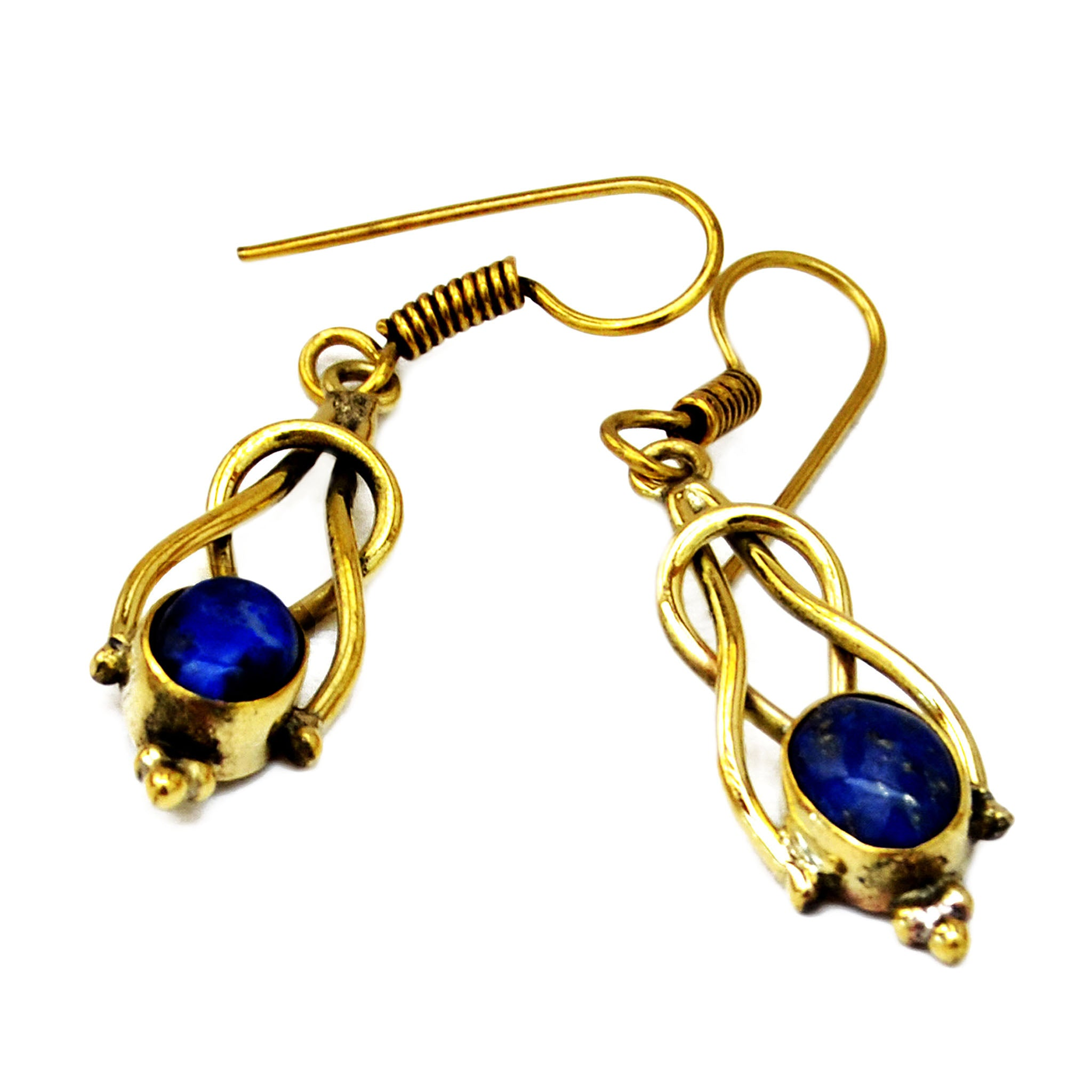 Elegant indian brass drop earrings with lapis lazuli