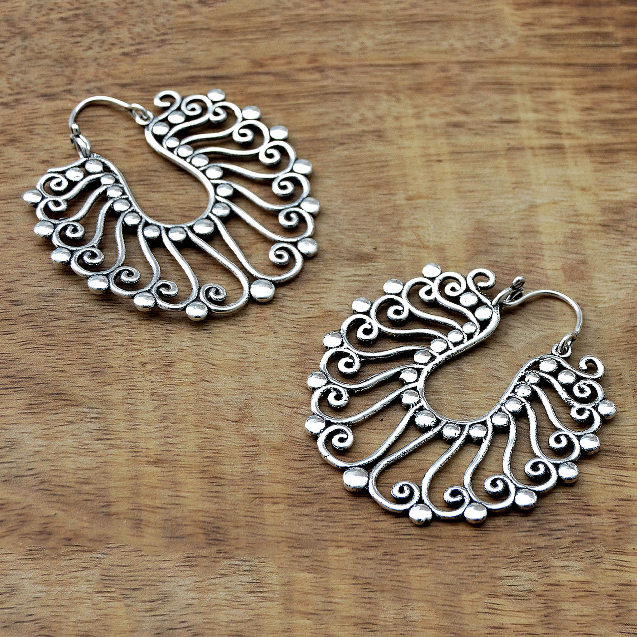Large indian silver gypsy earrings