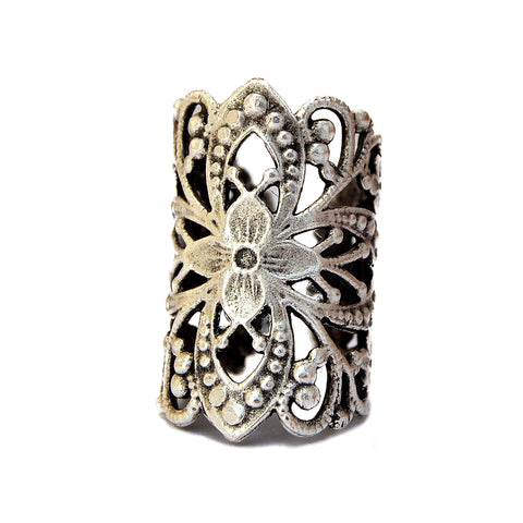 Large gypsy boho silver ring