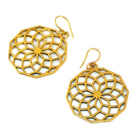 Large brass floral mandala earrings