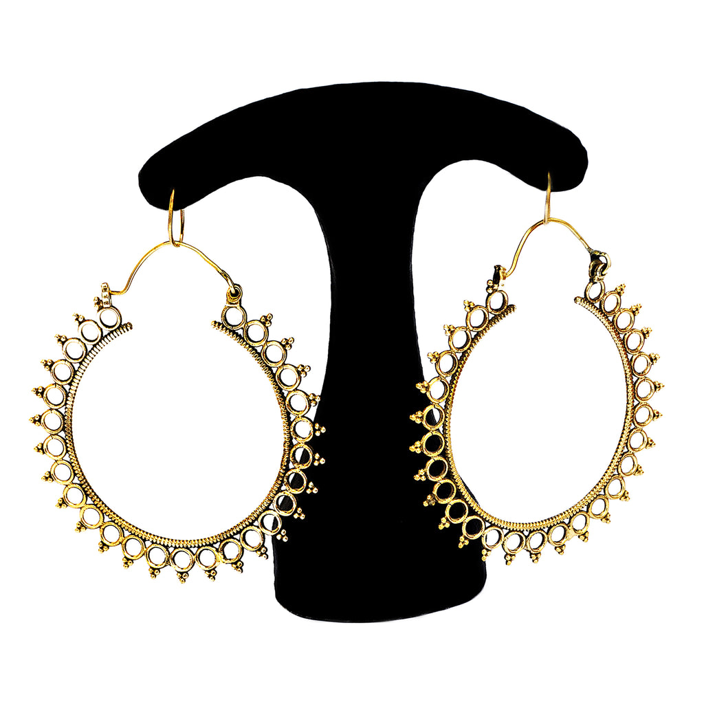 Large tribal hoop earrings