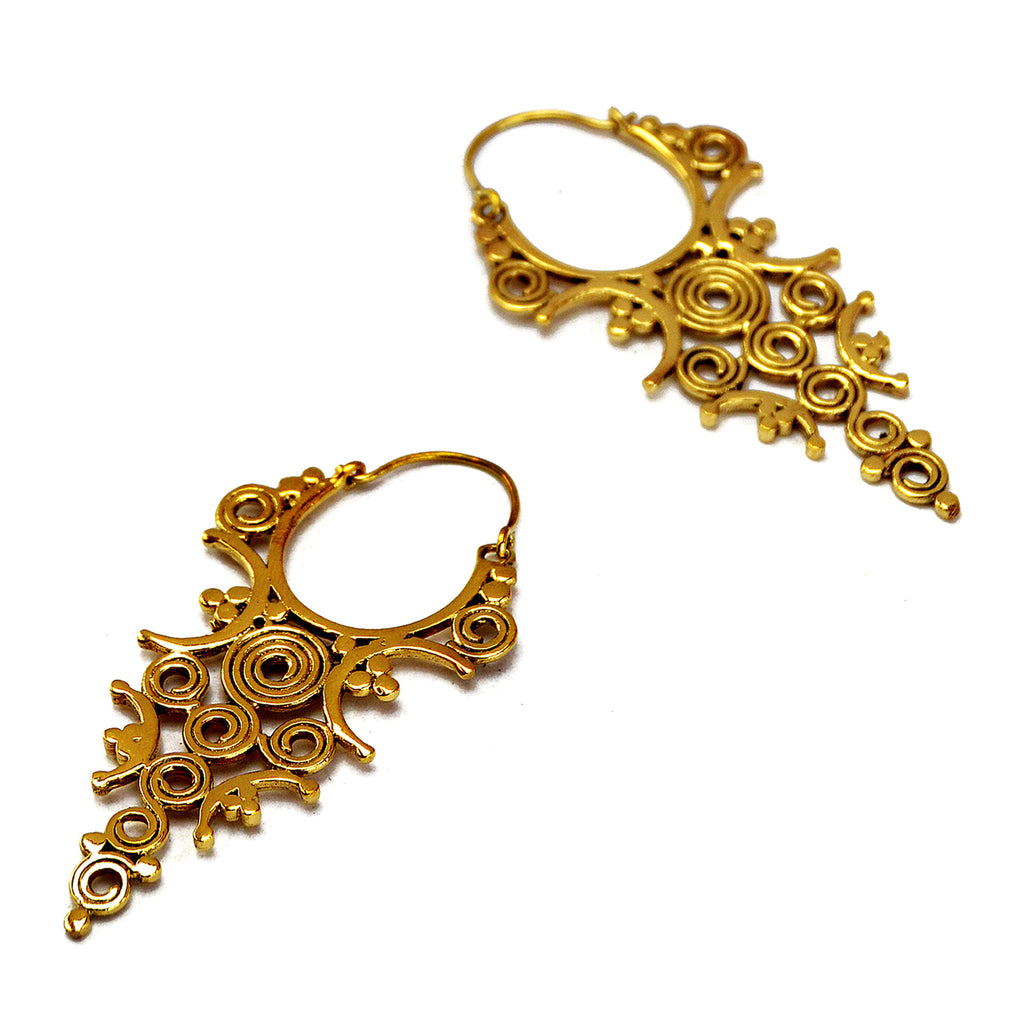 Long brass tribal earrings