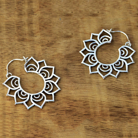 Silver lotus flower hoop earrings