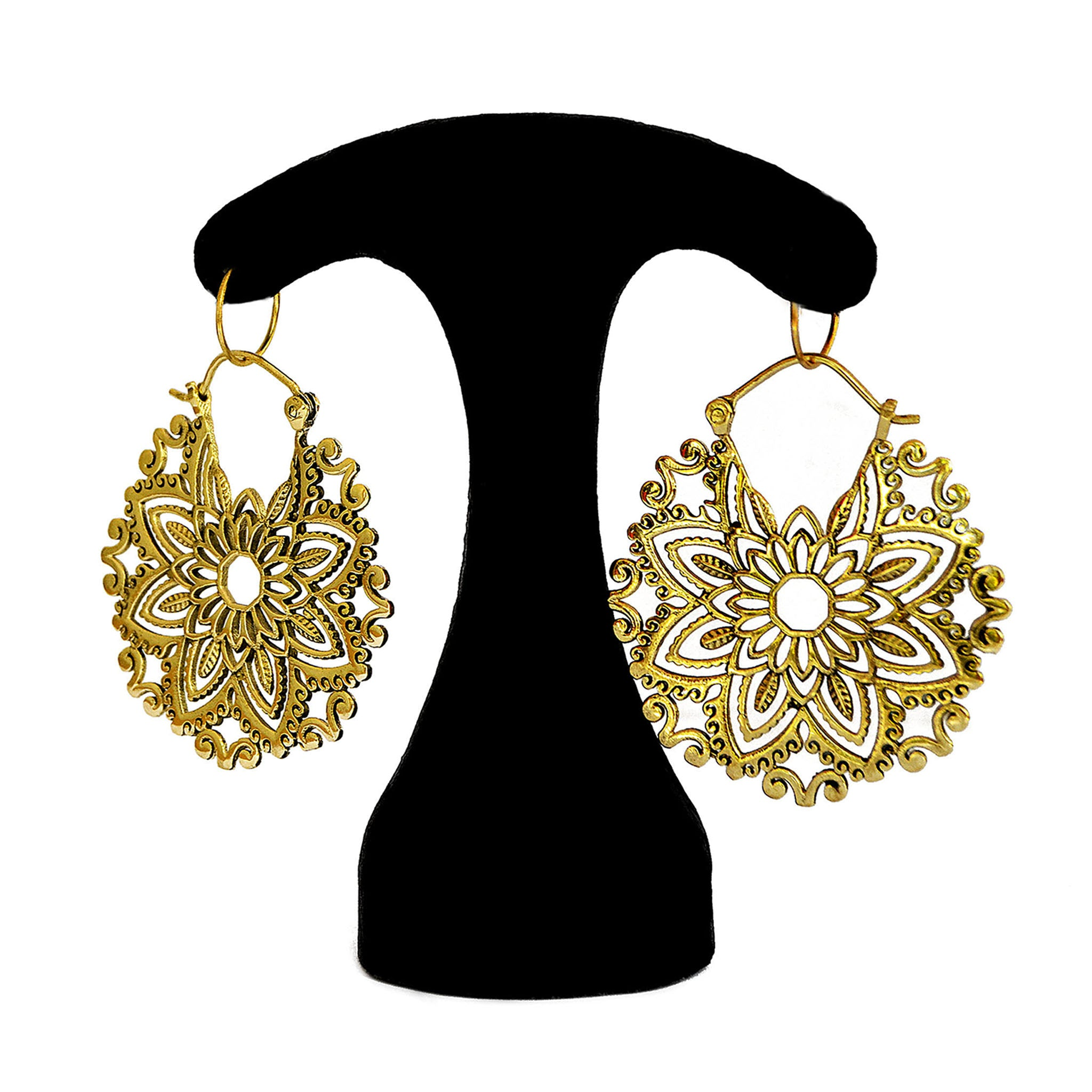 Brass floral mandala earrings
