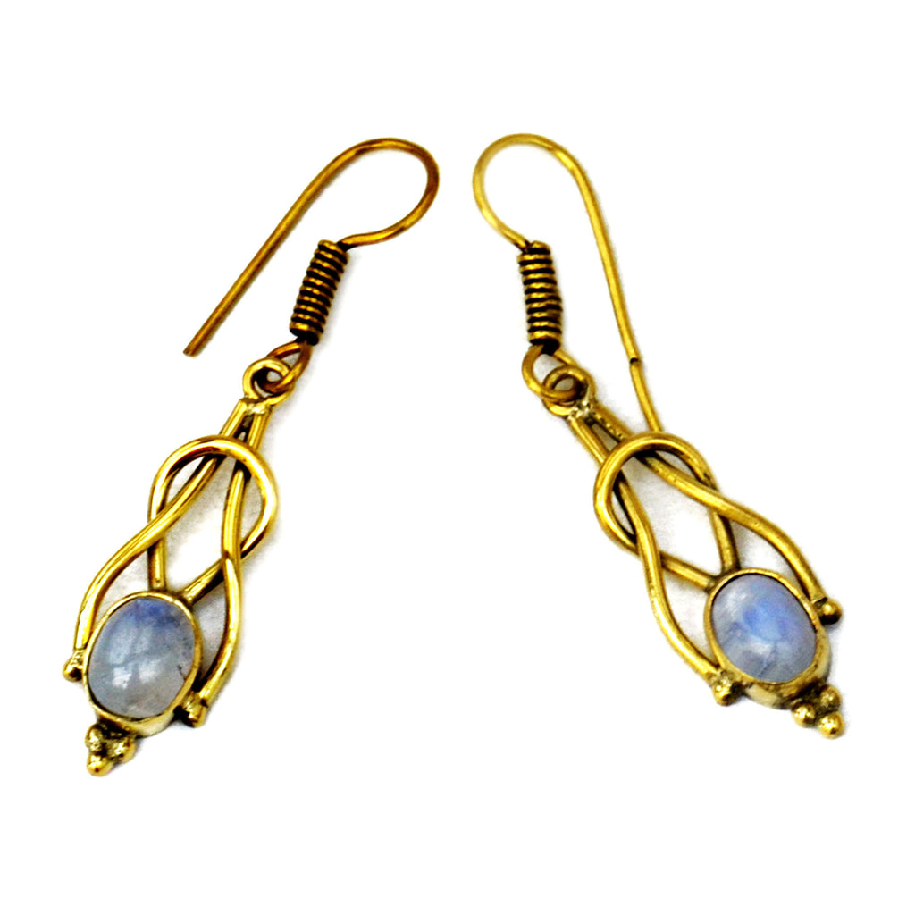 Drop brass indian earrings with moonstone