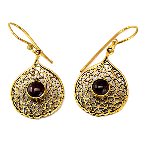 Indian brass filigree earrings with black onyx stones