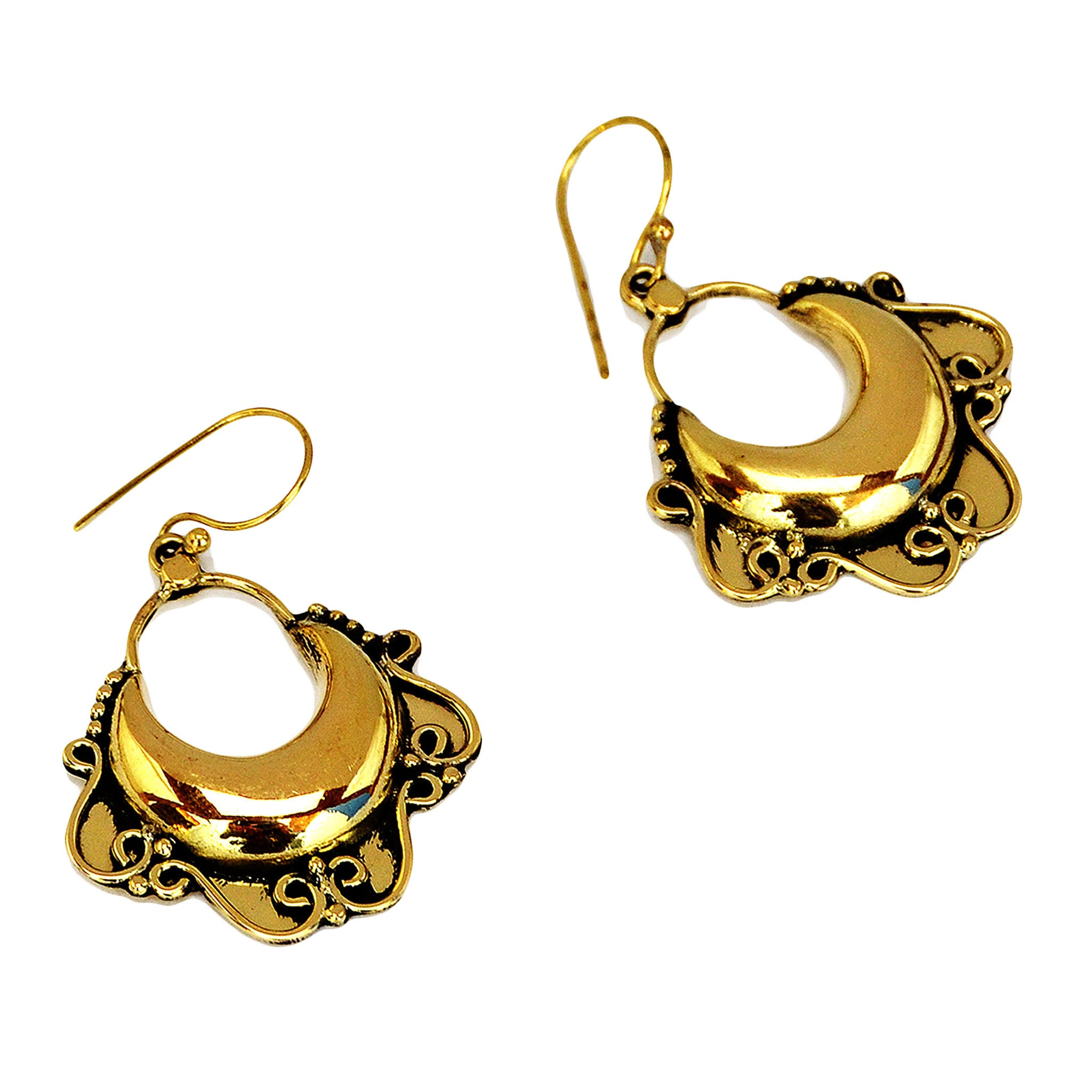 Ornate indian hoop earrings