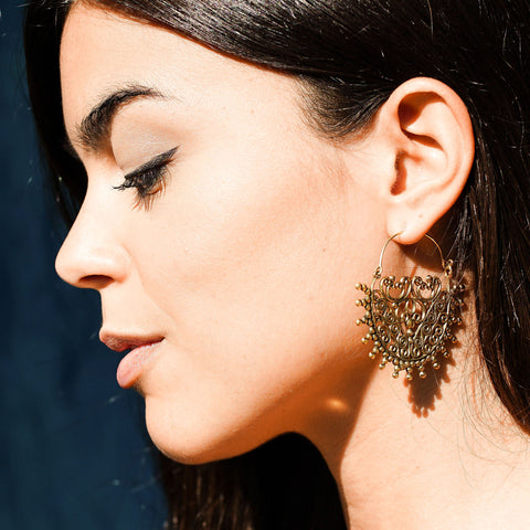 Indian brass tribal earrings
