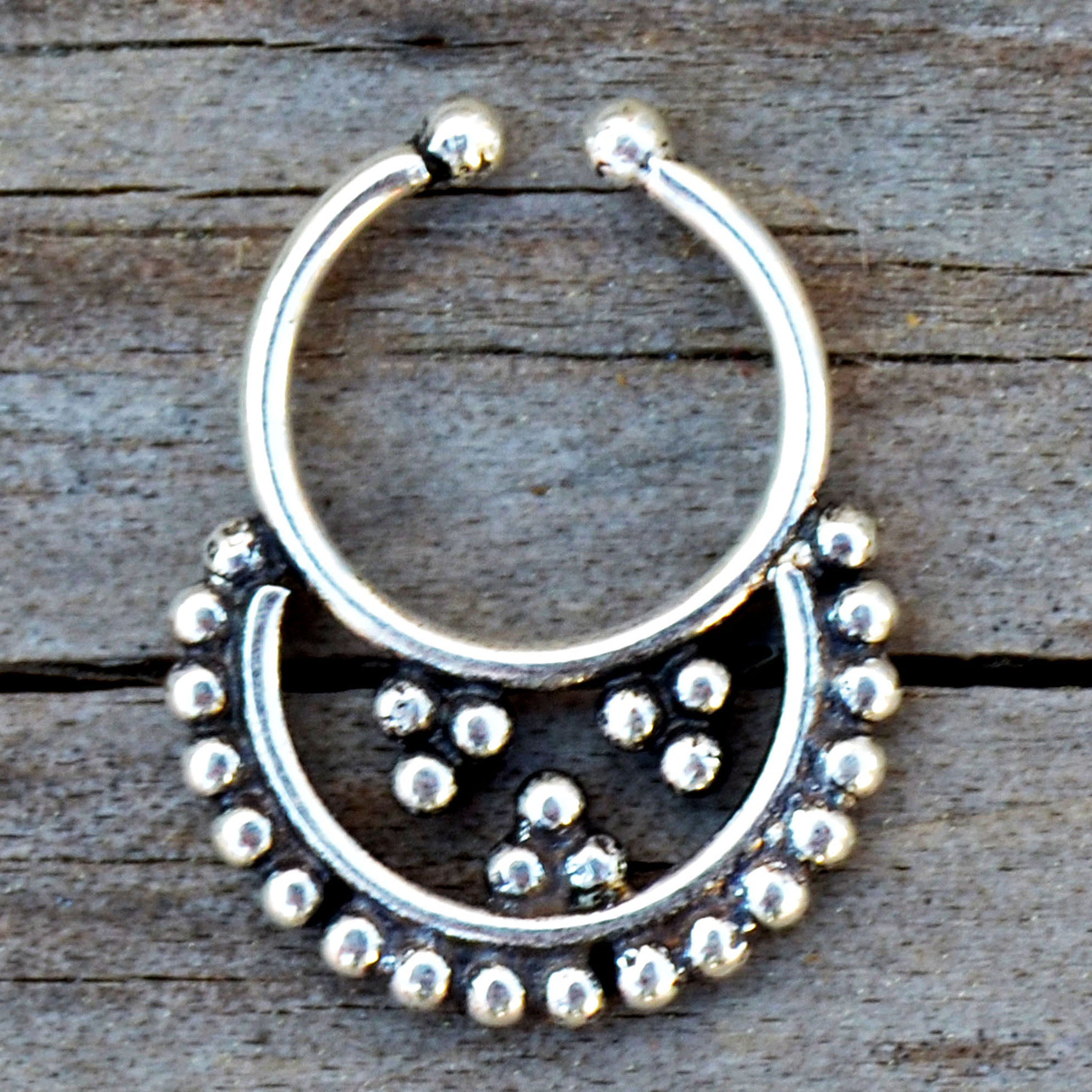 Silver ethnic fake septum ring