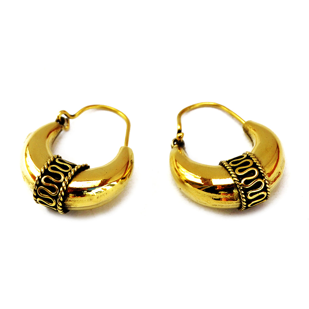 Gypsy rajasthani brass hoop earrings