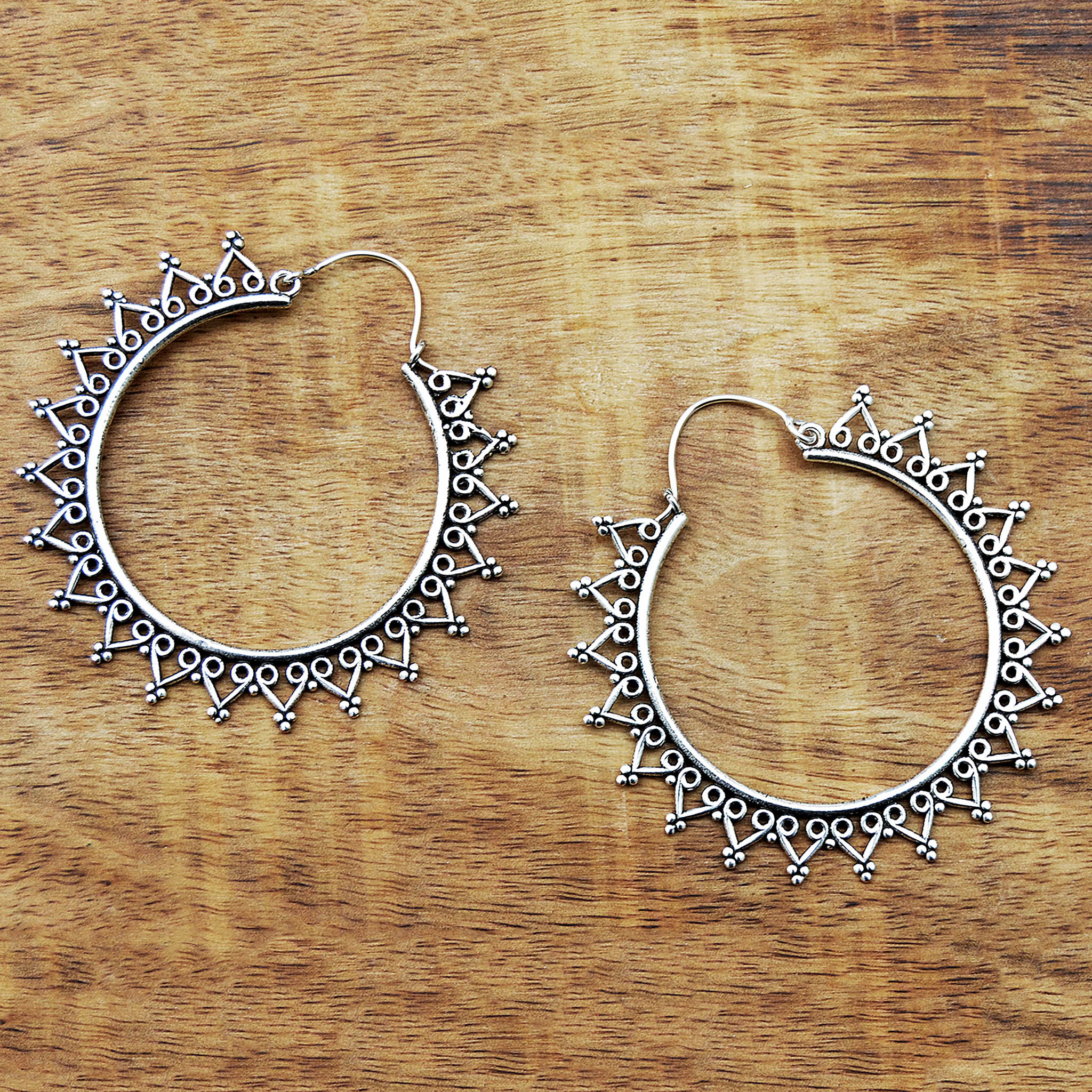 Large indian silver hoop earrings