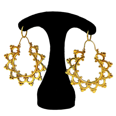 Rajasthani brass mandala earrings