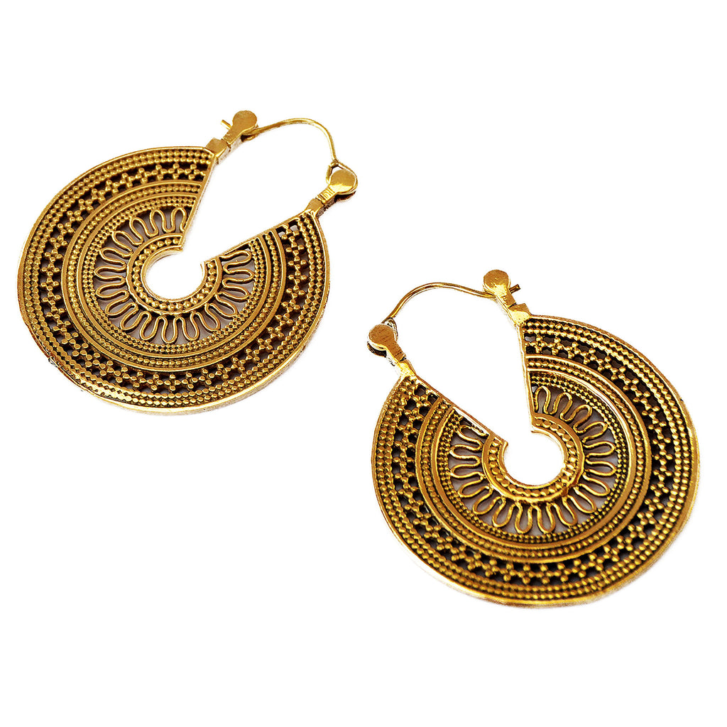 Brass rajasthani mandala earrings