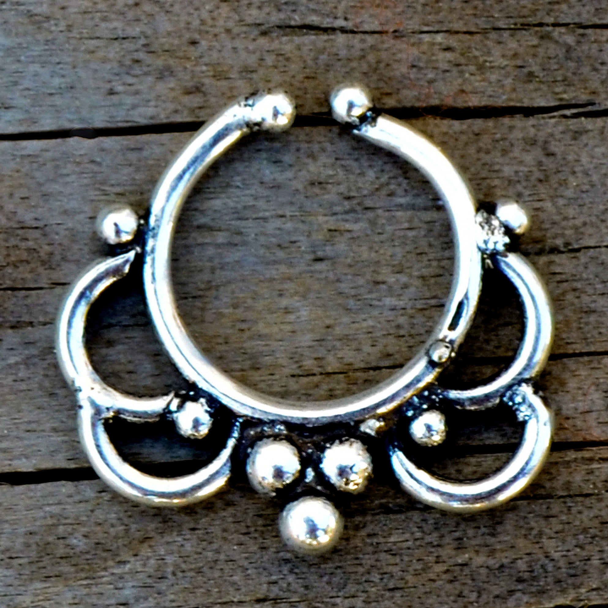 Silver indian fake septum ring