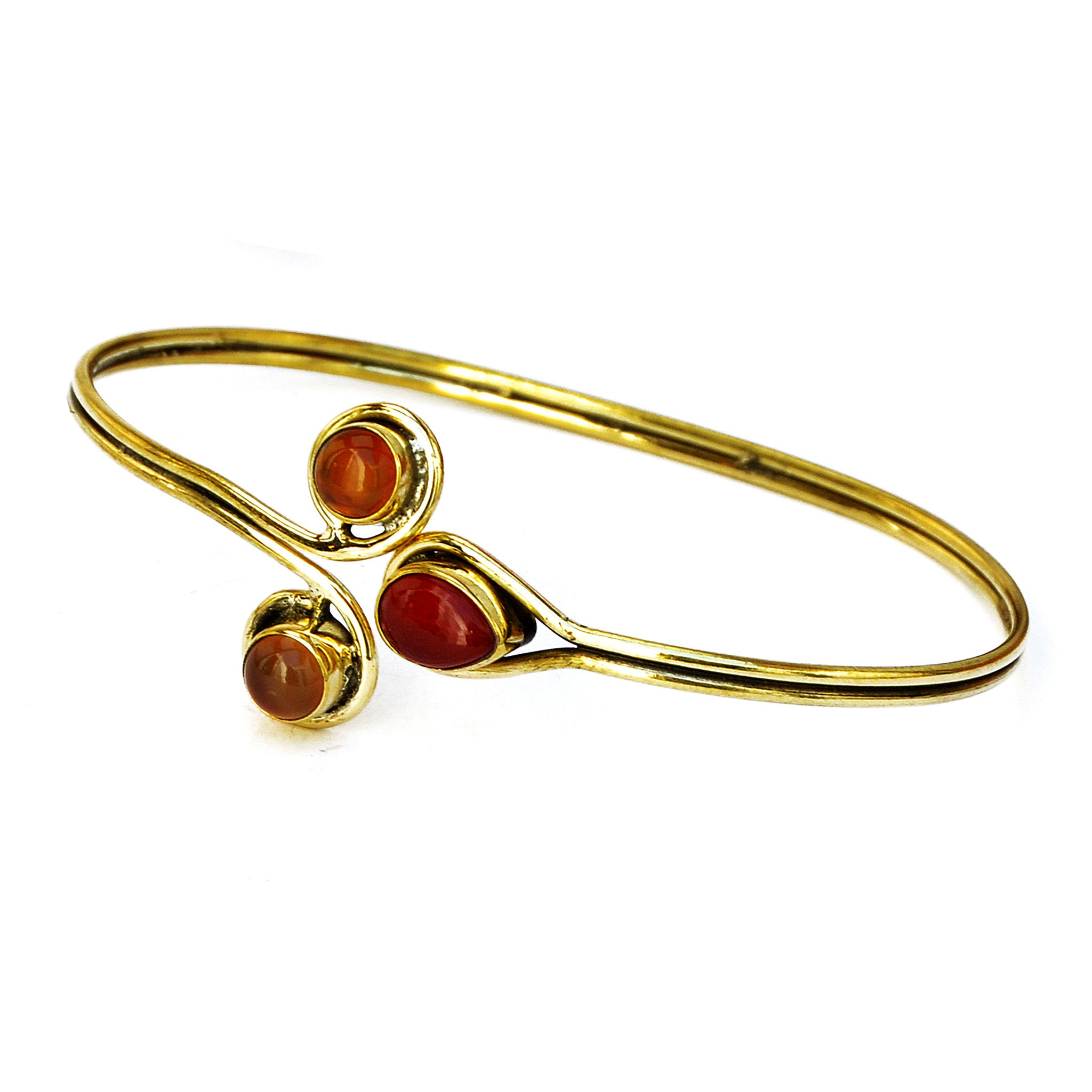 Indian gold bracelet with red and orange stones