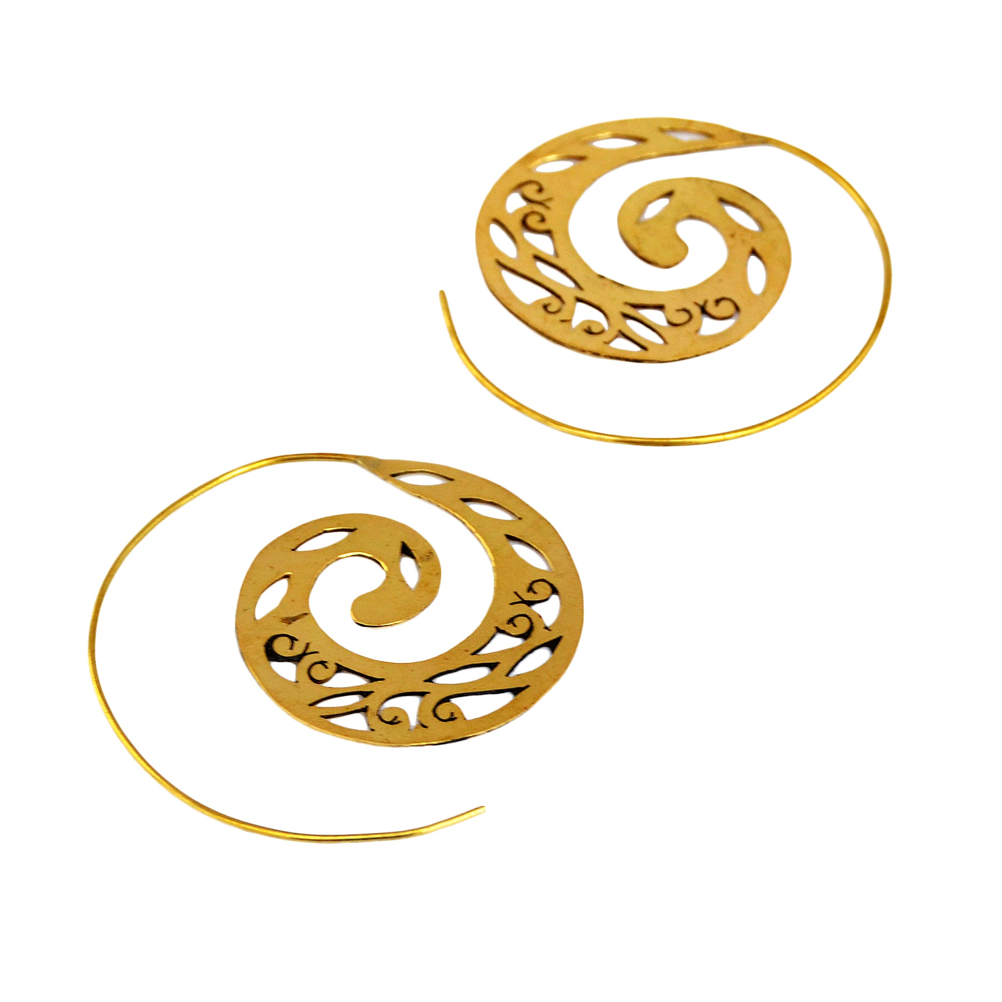 Brass sawed tribal spiral earrings