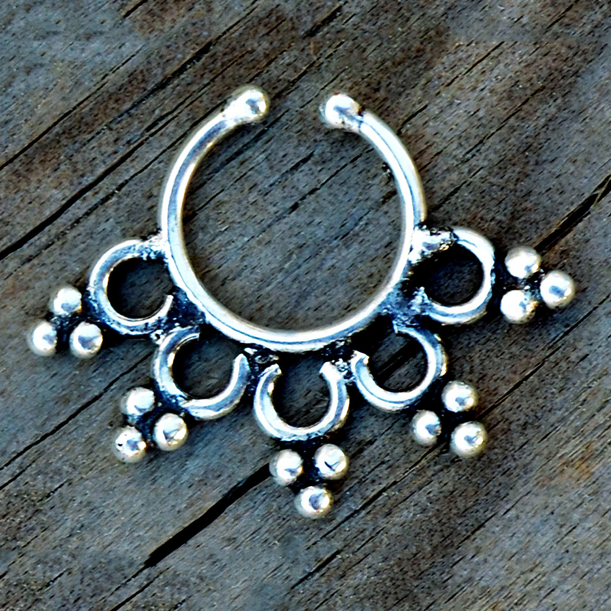 Silver indian faux nose ring