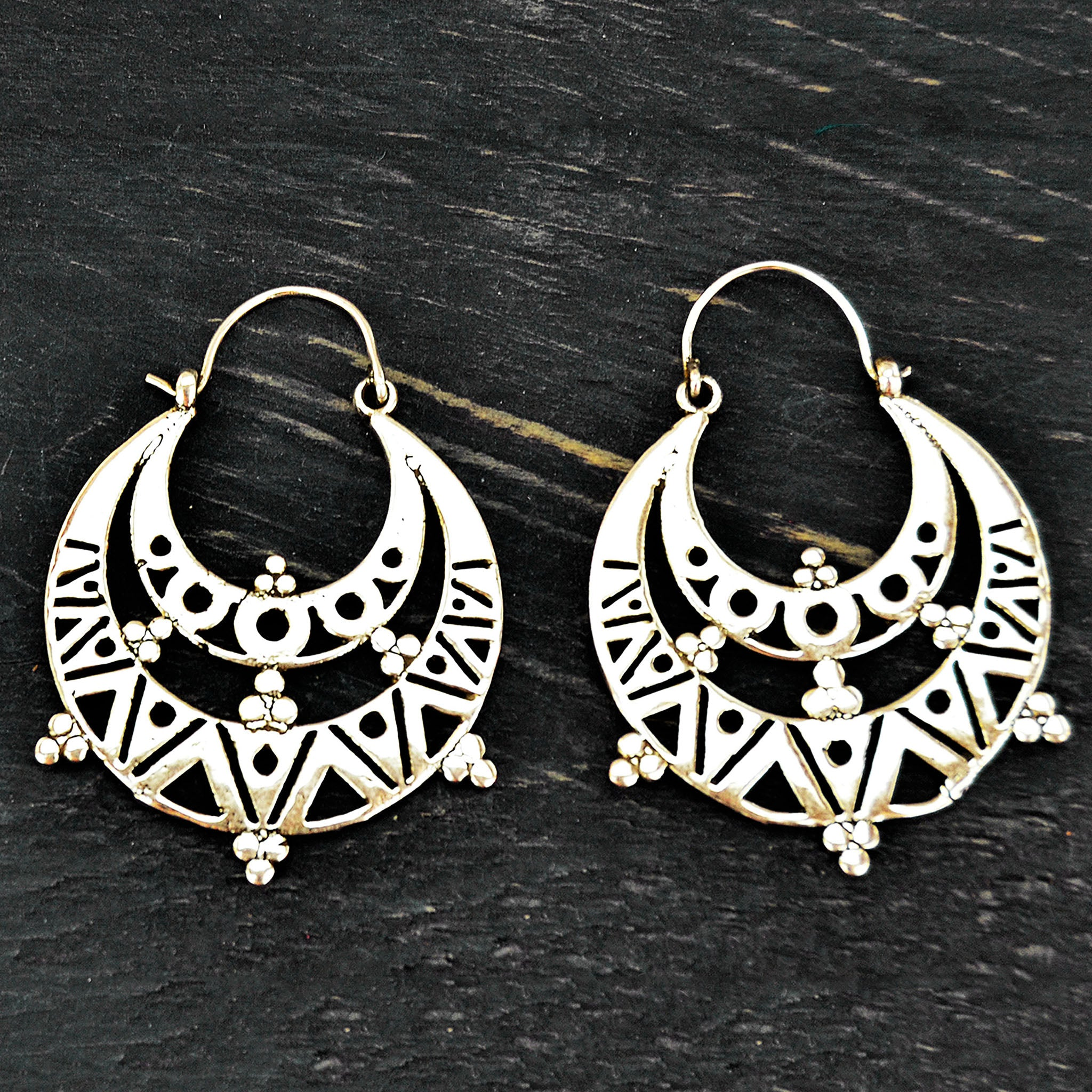 Silver aztec hoop earrings wuth geometric motifs