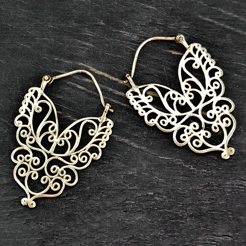 Silver tribal filigree earrings