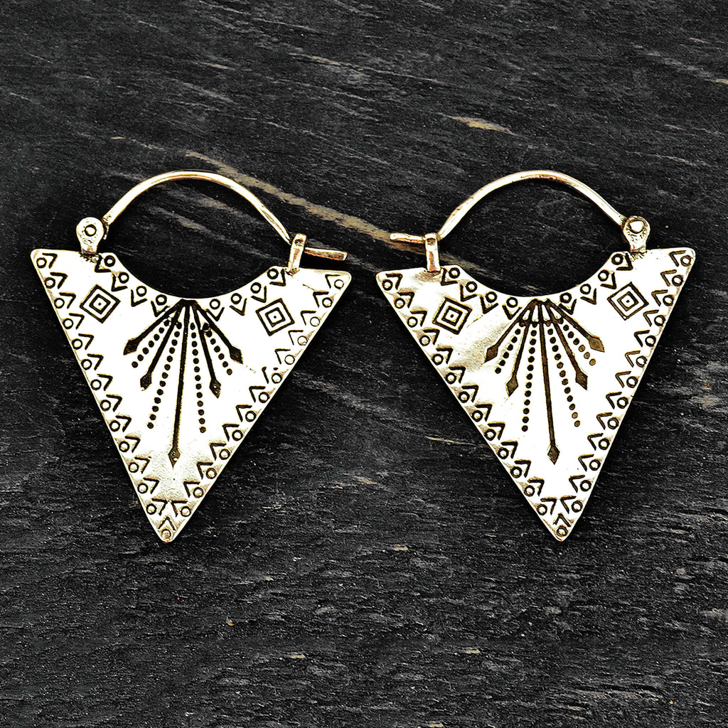 Silver tribal geometric triangle earrings