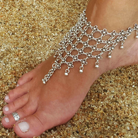 Silver hippie floral anklet