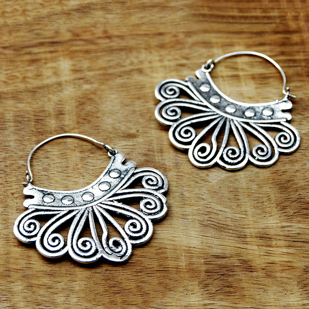 Tribal earrings silver