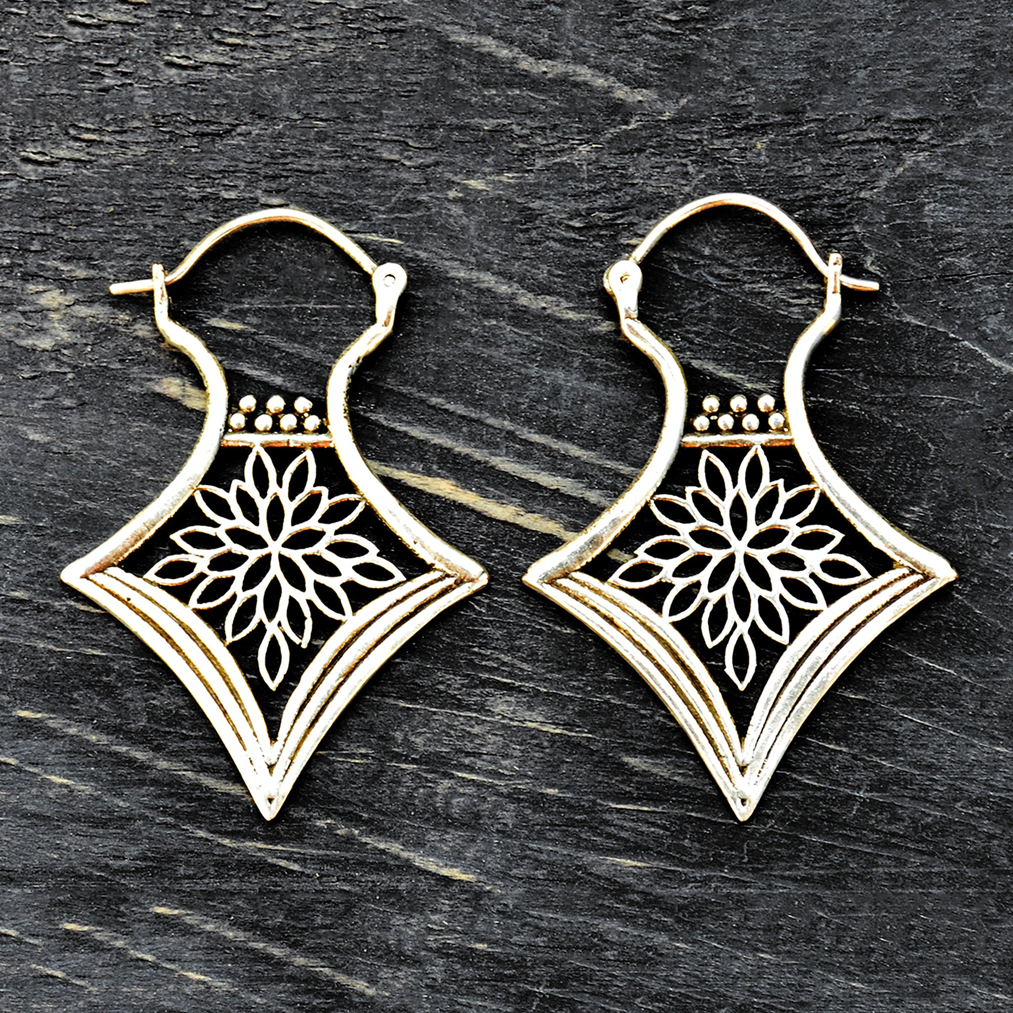 Silver floral indian dangle earrings