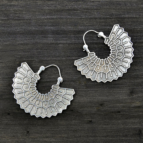 Silver tribal fan earrings