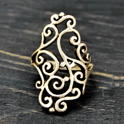 Silver filigree ring for women