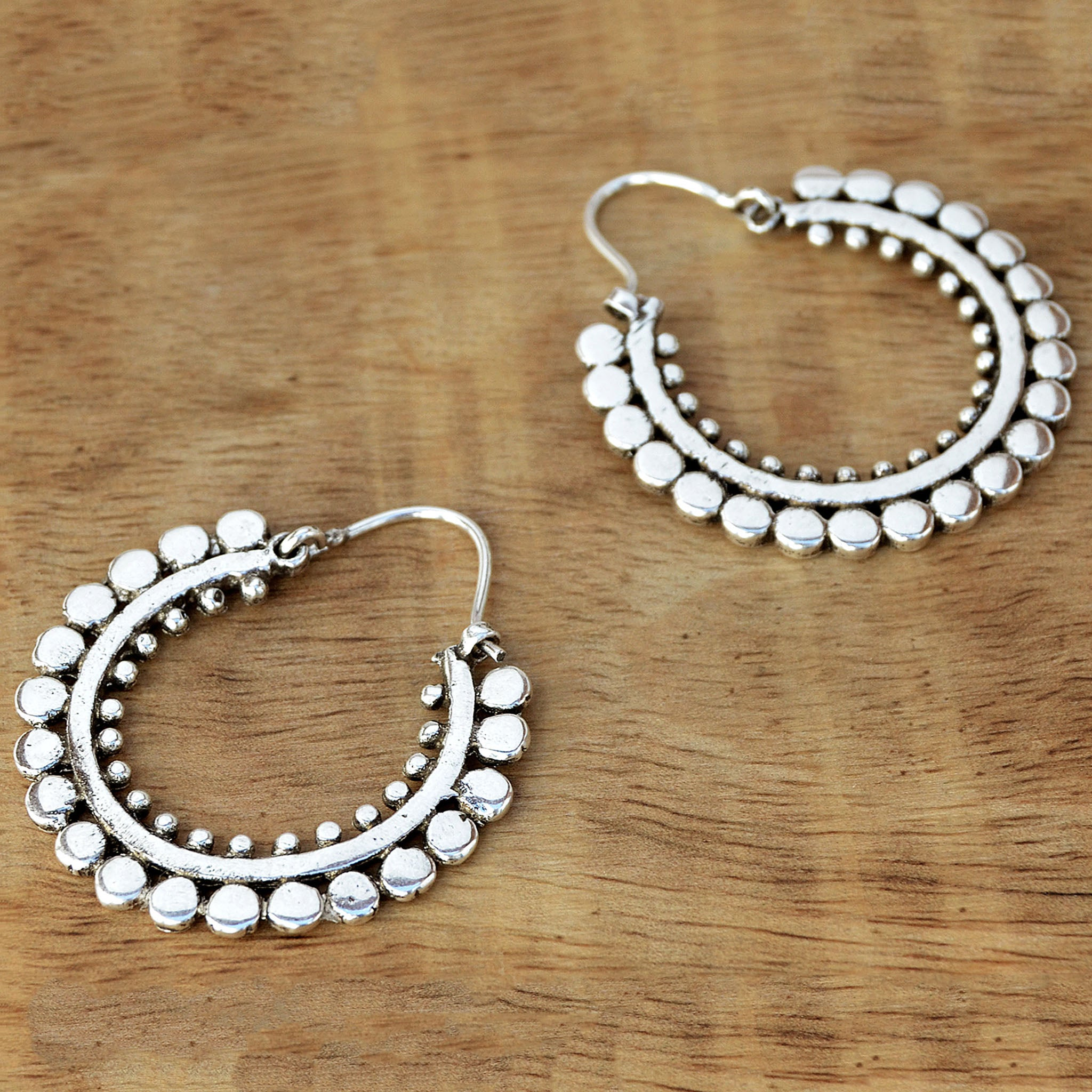 Silver gypsy hoop earrings