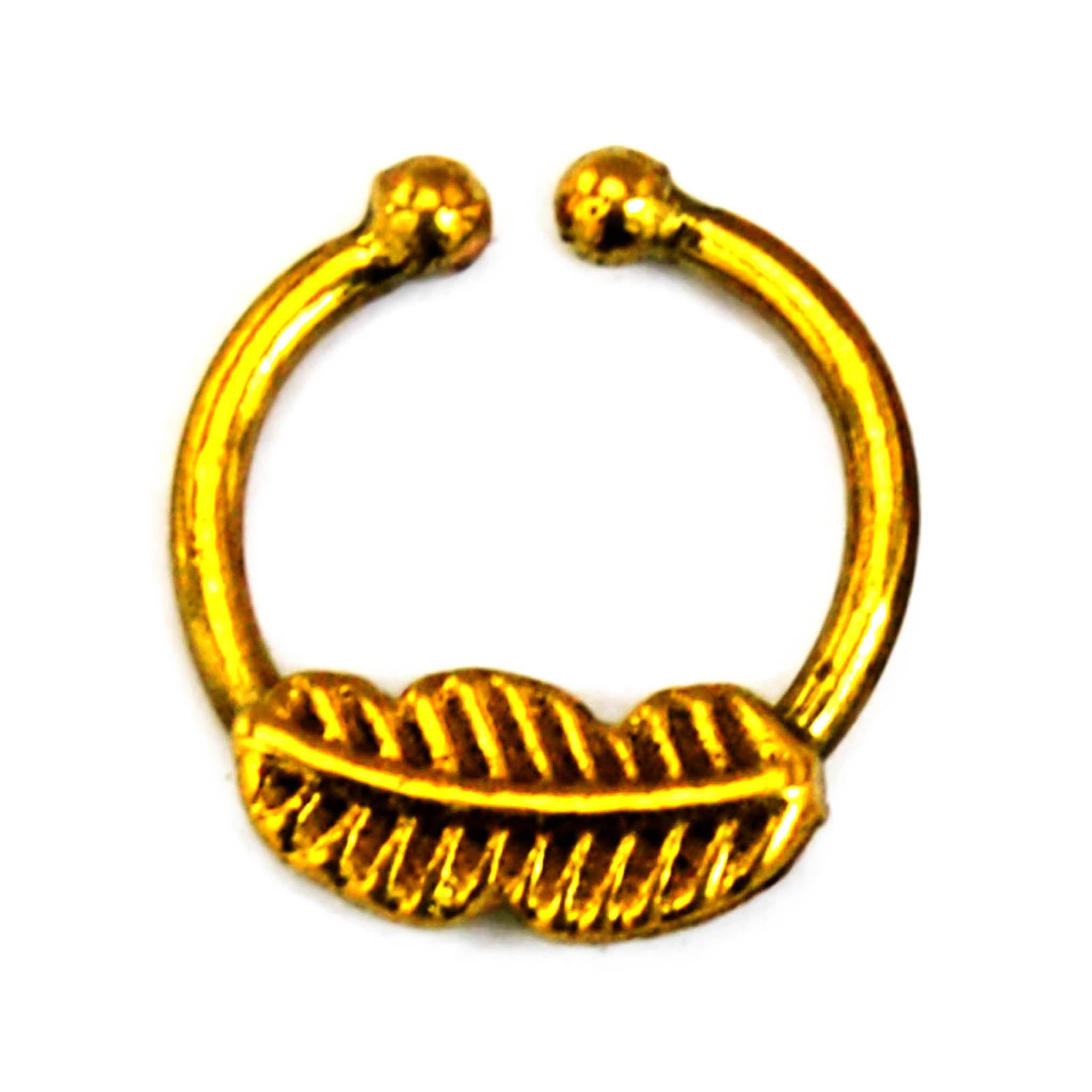 Small gold leaf faux septum ring