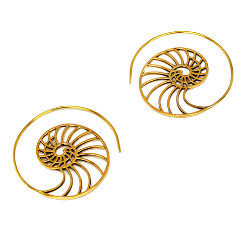 Large brass ammonite earrings