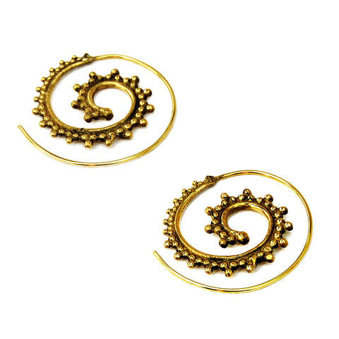 Spiral gypsy brass earrings