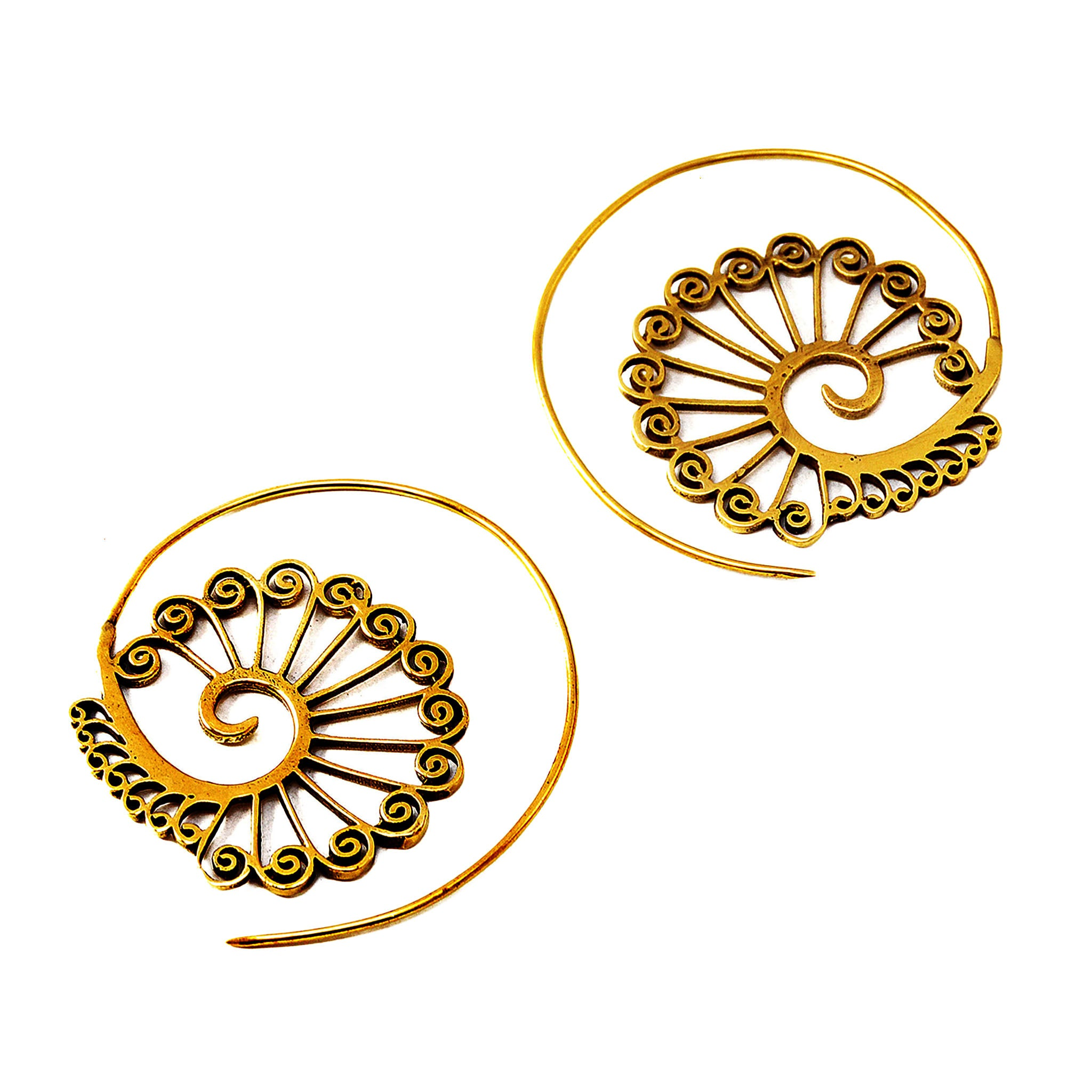 Brass spiral hook earrings