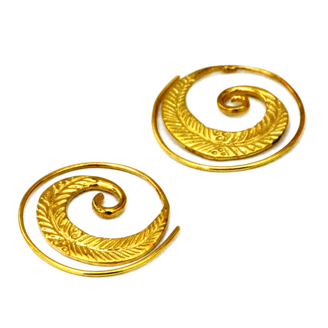 Spiral tribal brass leaf earrings