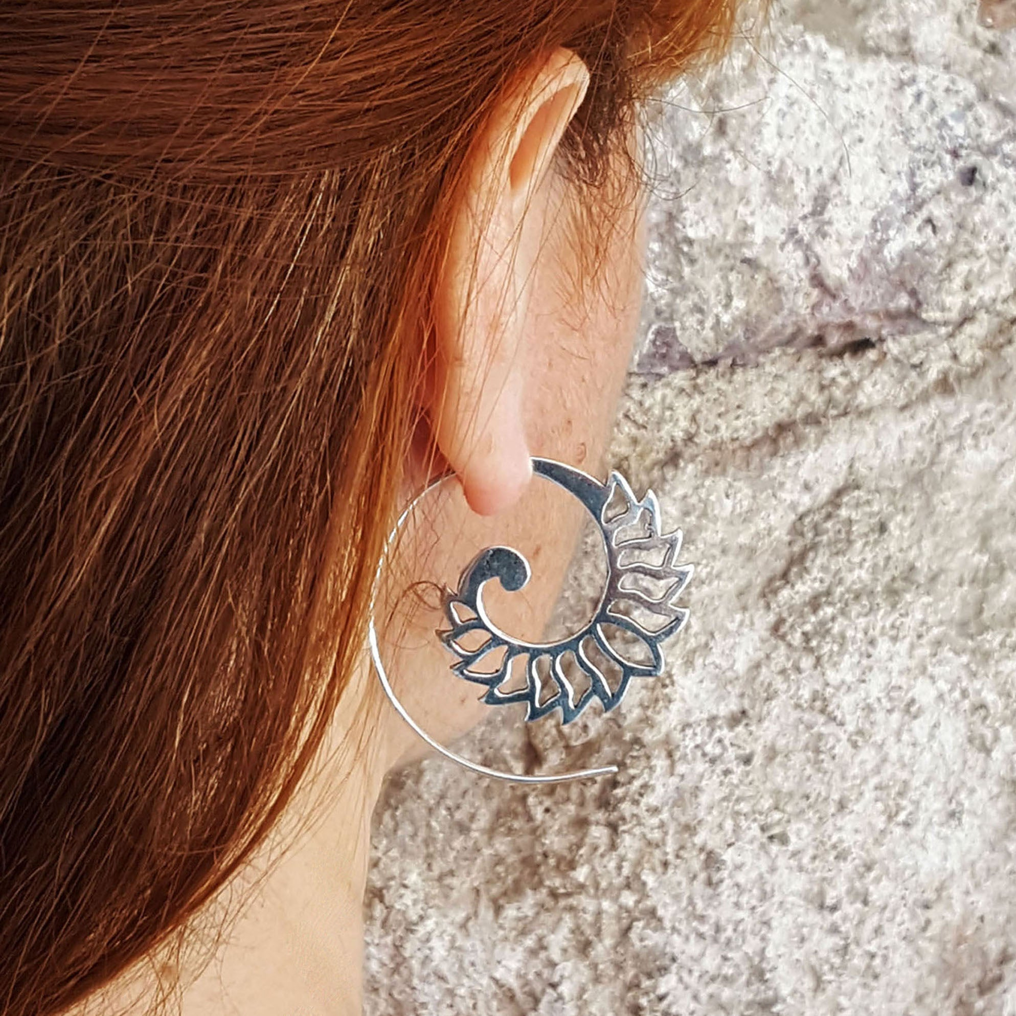 Spiral silver tribal earrings