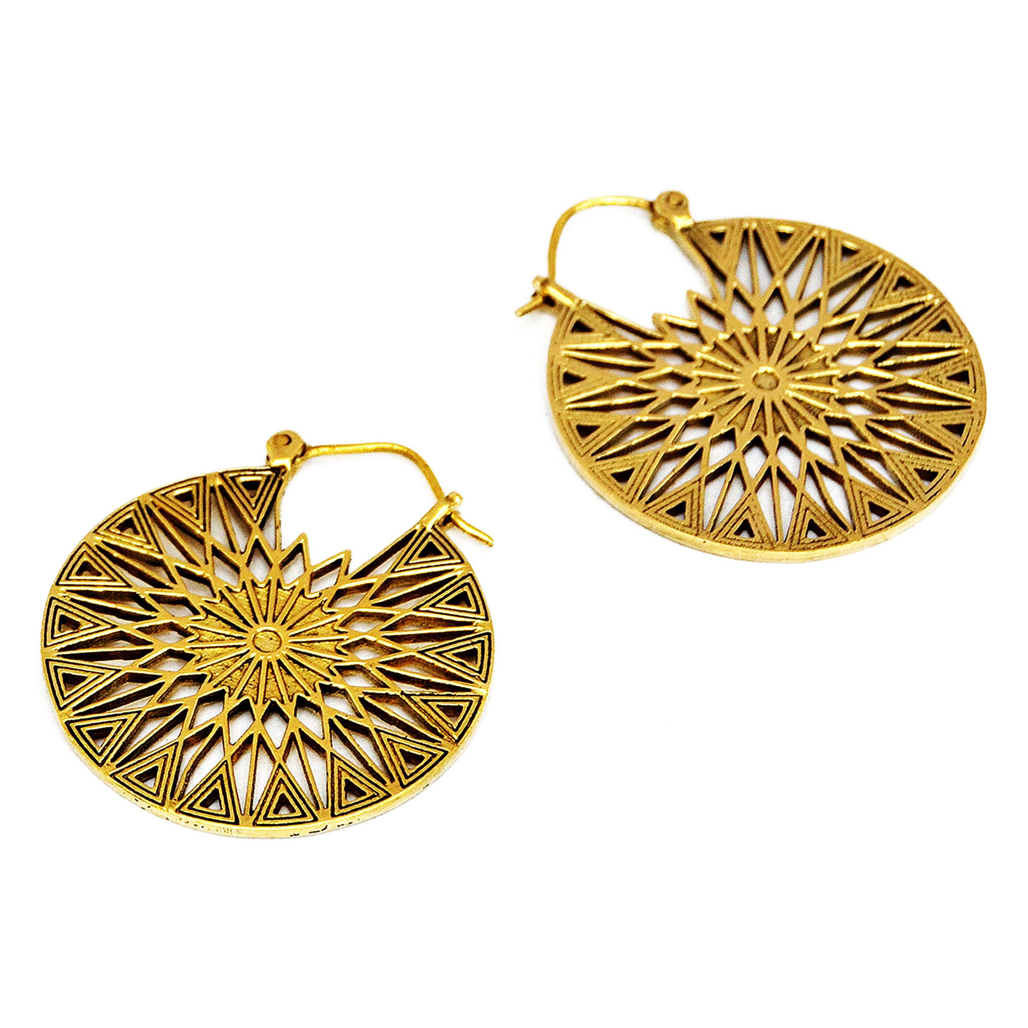 Aztec brass sun mandala earrings