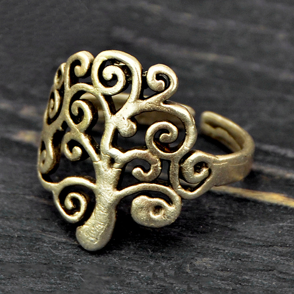 Adjustable silver tree of life ring
