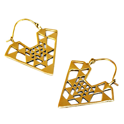 Aztec triangle brass earrings