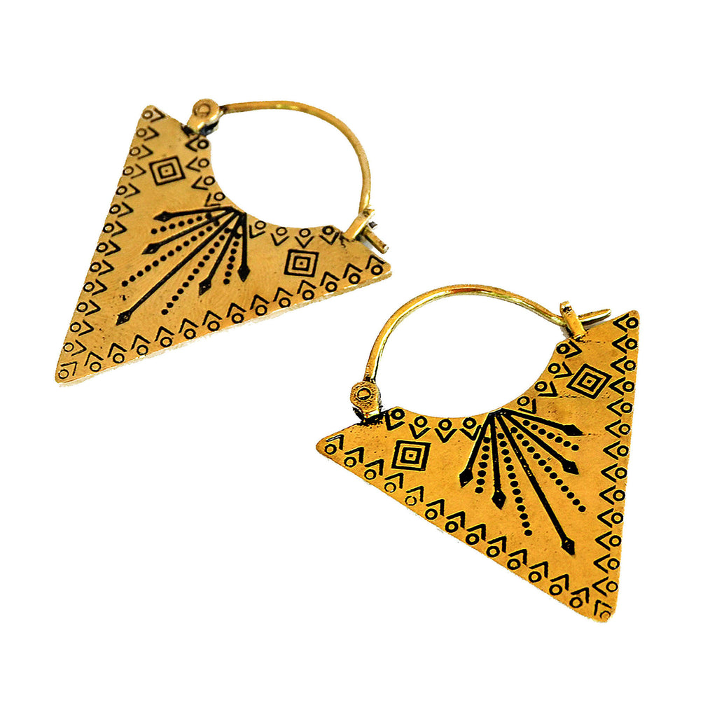 Ethnic triangle earrings brass