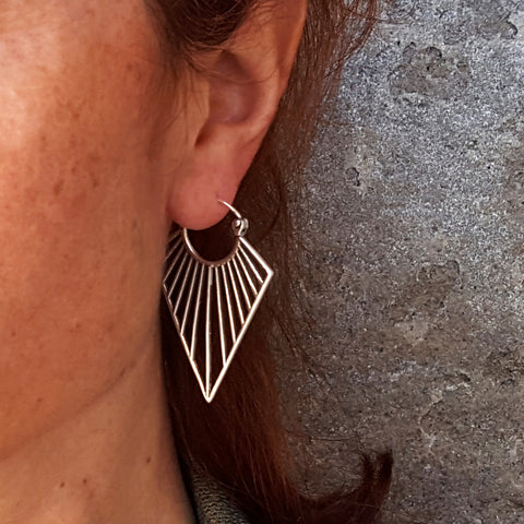 Long geometric earrings