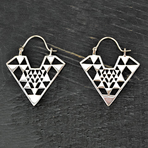 Aztec silver triangle earrings